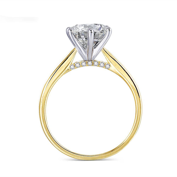 14k White & Yellow Gold Solitaire Moissanite Ring 2ct Center Stone