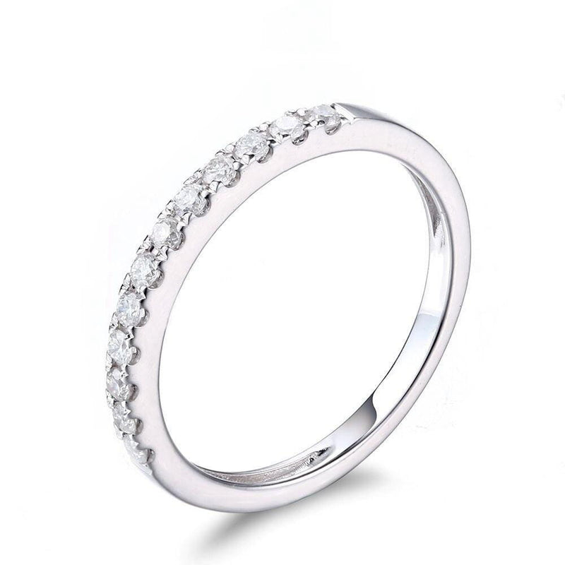 White Gold Plated Silver Moissanite Anniversary Band 0.22ct