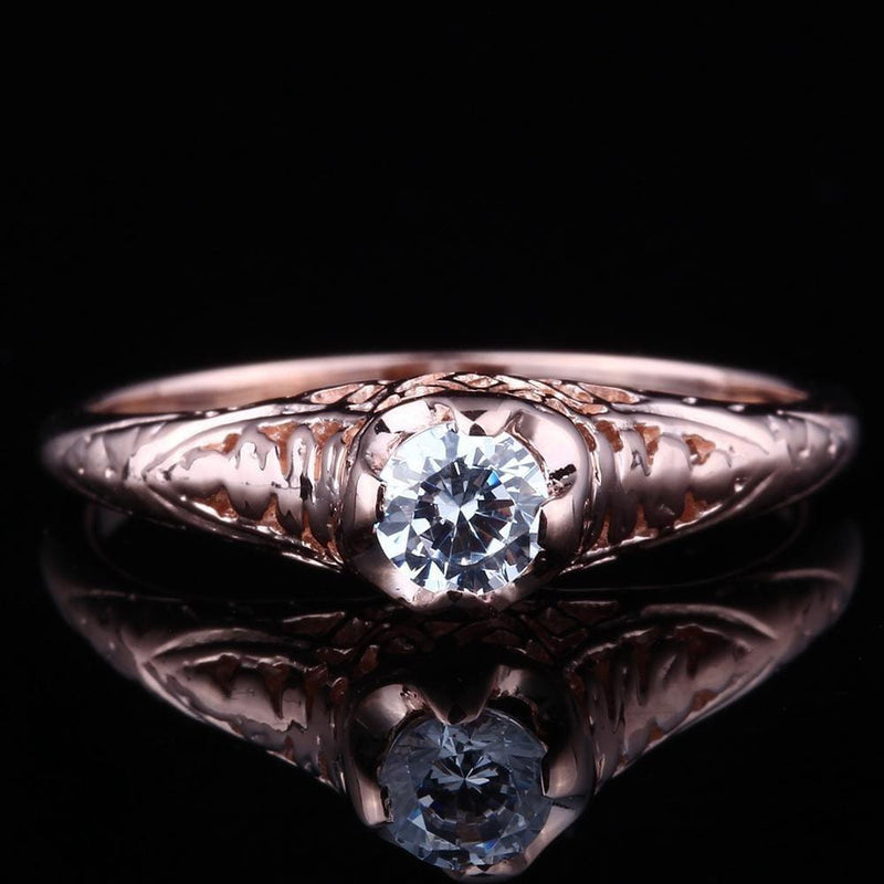 14k Rose Gold Vintage / Unique Moissanite Ring 0.3ct - Moissanite Engagement Rings & Jewelry | Luxus Moissanite