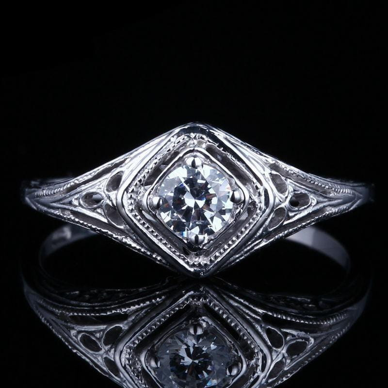 10k White Gold Vintage / Unique Moissanite Ring 0.3ct - Moissanite Engagement Rings & Jewelry | Luxus Moissanite