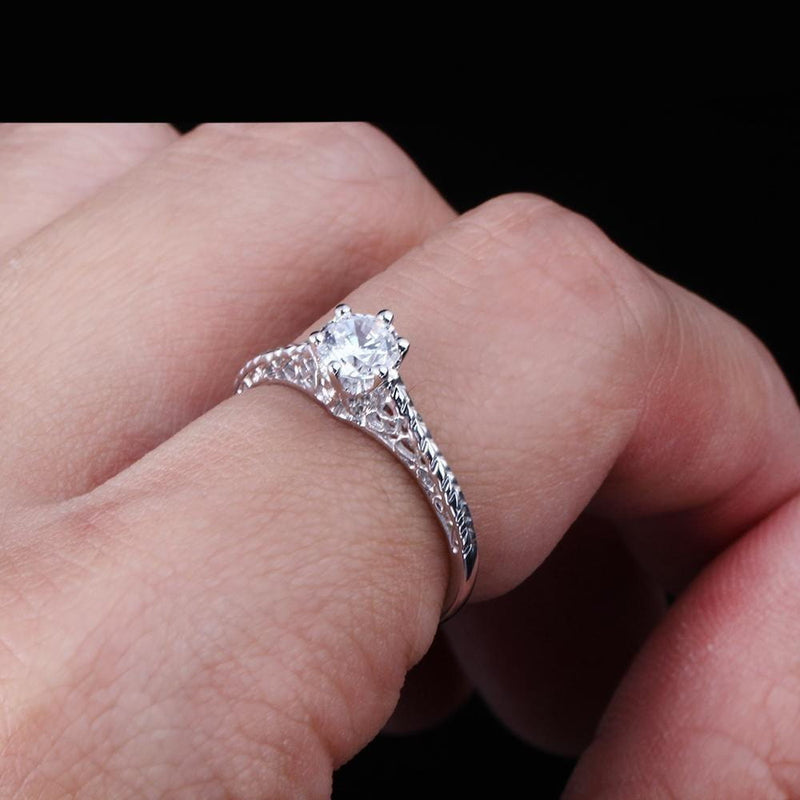 10k White Gold Vintage / Unique Moissanite Ring 0.5ct - Moissanite Engagement Rings & Jewelry | Luxus Moissanite