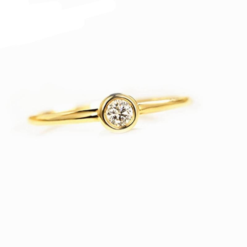 14k Yellow Gold Bezel Set Solitaire Moissanite Ring 0.25ct - Moissanite Engagement Rings & Jewelry | Luxus Moissanite