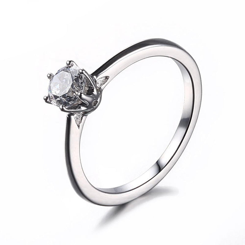 White Gold Plated Silver Solitaire Moissanite Ring 0.5ct