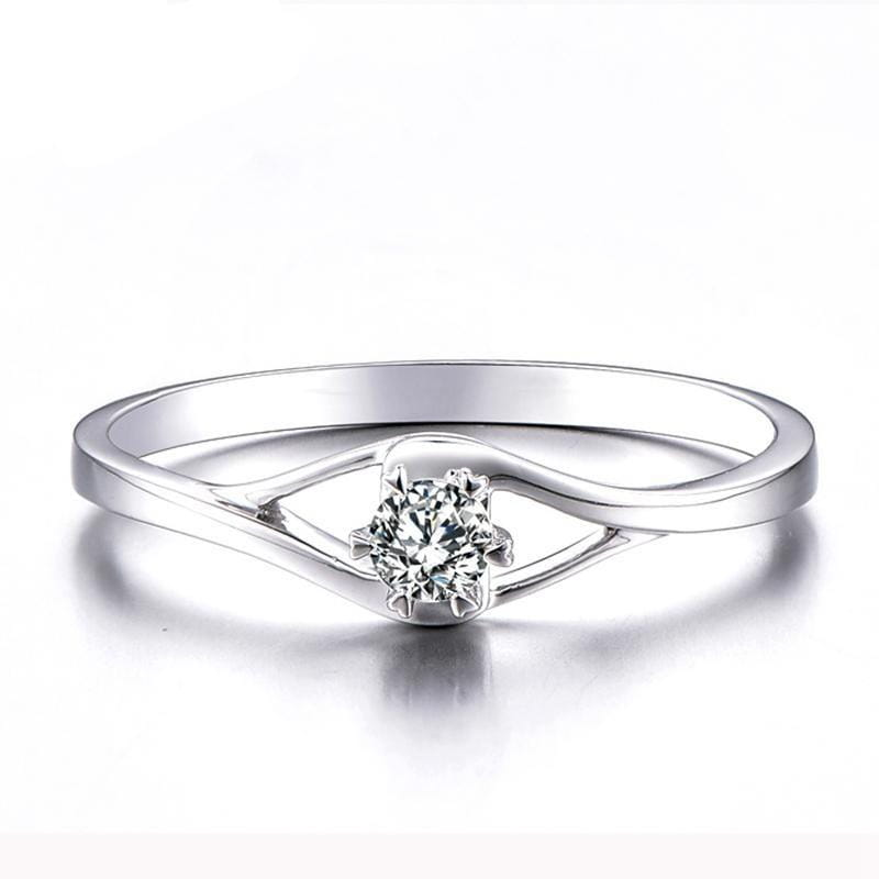 White Gold Plated Silver Solitaire Moissanite Ring 0.3ct