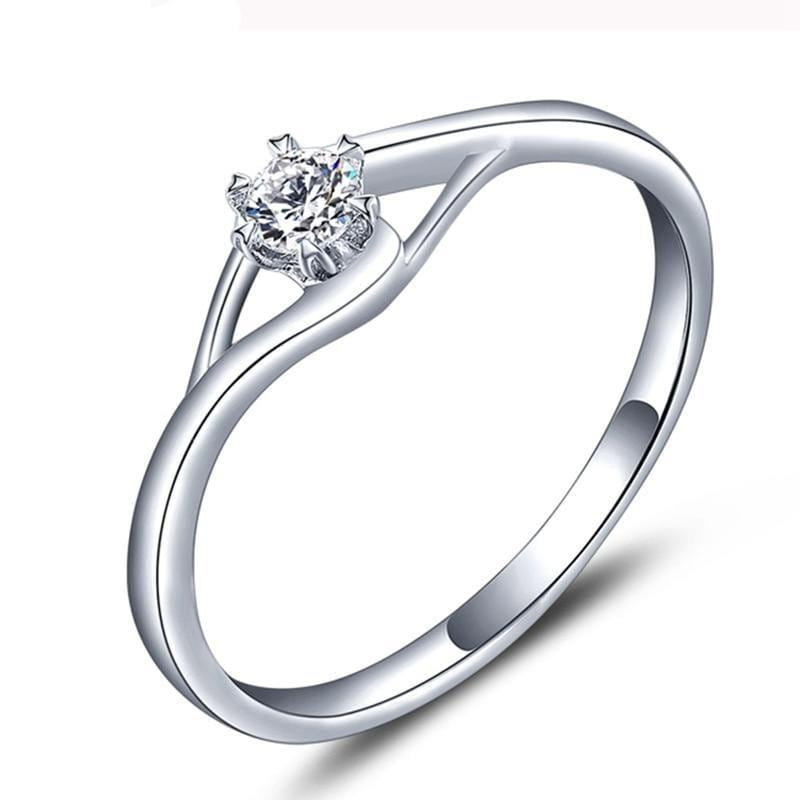 White Gold Plated Silver Solitaire Moissanite Ring 0.3ct - Moissanite Engagement Rings & Jewelry | Luxus Moissanite