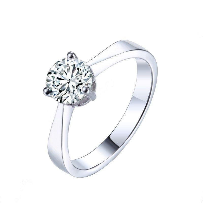 White Gold Plated Silver Solitaire Moissanite Ring 0.8ct - Moissanite Engagement Rings & Jewelry | Luxus Moissanite