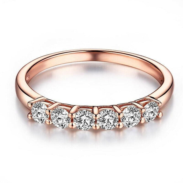 10k Rose Gold 6 Stone Moissanite Anniversary Band 0.36ct Total - Moissanite Engagement Rings & Jewelry | Luxus Moissanite
