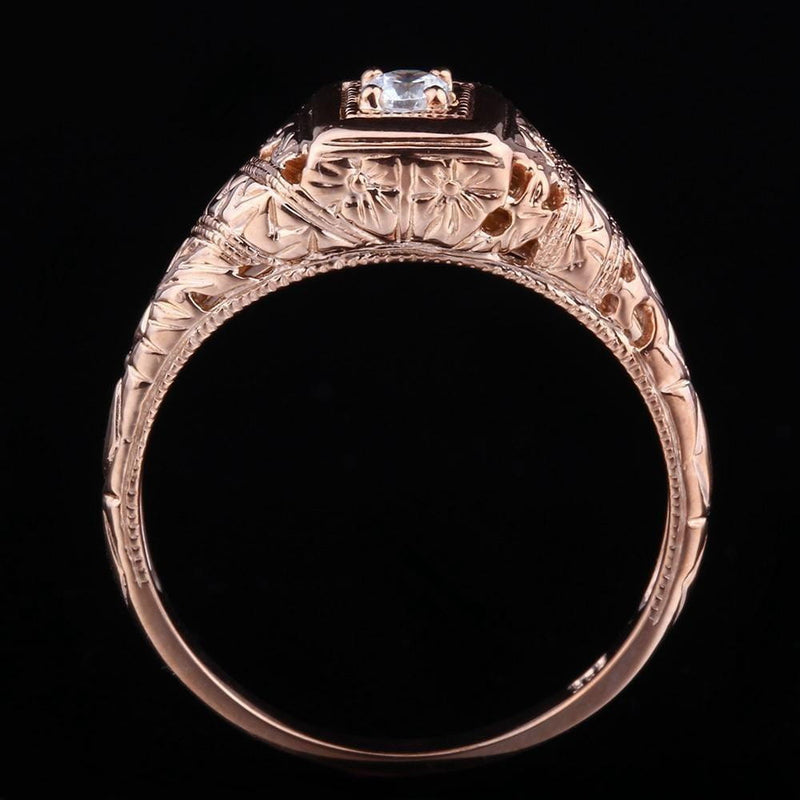 14k Rose Gold Vintage / Unique Moissanite Ring 0.1ct - Moissanite Engagement Rings & Jewelry | Luxus Moissanite