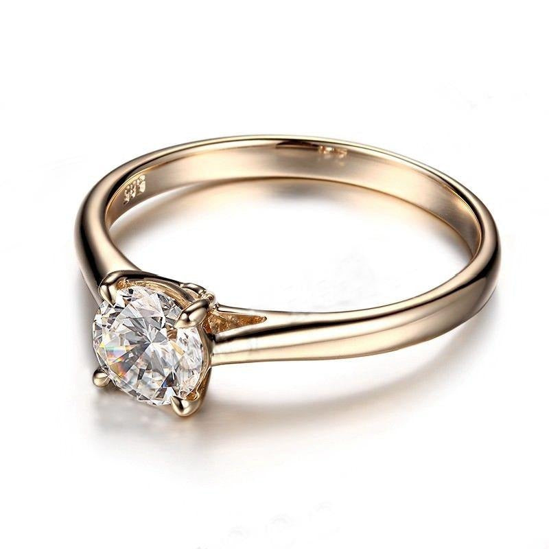10k Yellow Gold Solitaire Moissanite Ring 1ct