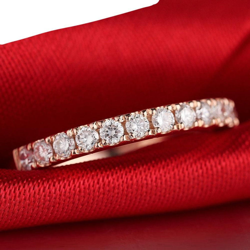 10k Rose Gold Moissanite Half Eternity / Anniversary Band 0.5ct - Moissanite Engagement Rings & Jewelry | Luxus Moissanite
