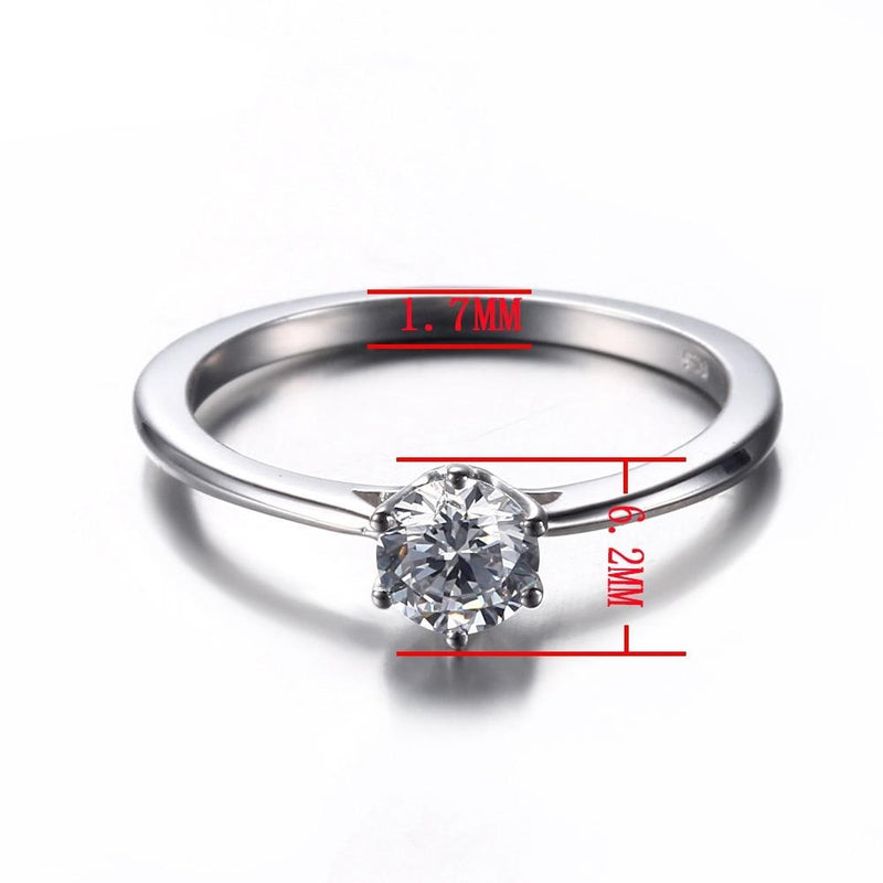 14k White Gold Solitaire Moissanite Ring 0.5ct