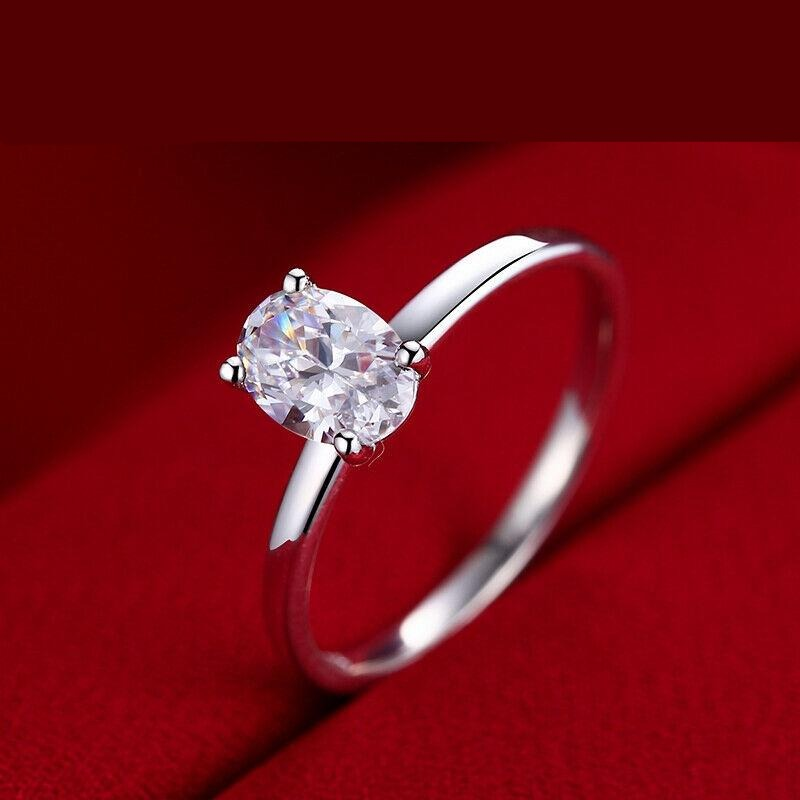 10k White Gold Solitaire Oval Cut Moissanite Ring 0.75ct