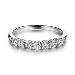 18k White Gold 7 Stone Moissanite Anniversary Ring 0.7ct