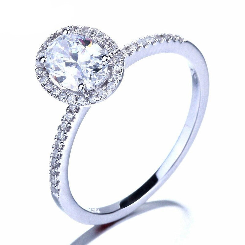10k White Gold Oval Cut Halo Moissanite Ring 1ct Total