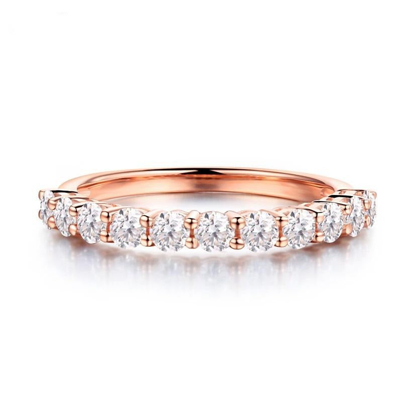 14k Rose Gold Anniversary Ring / Wedding Band 0.8ct Total
