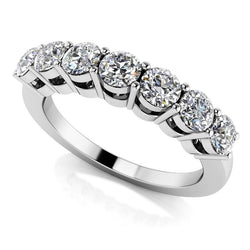 18k White Gold 7 Stone Moissanite Anniversary Wedding Band 0.7ct
