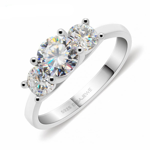 White Gold Plated 3 Stone Moissanite Ring 1.15ct (multiple colors)