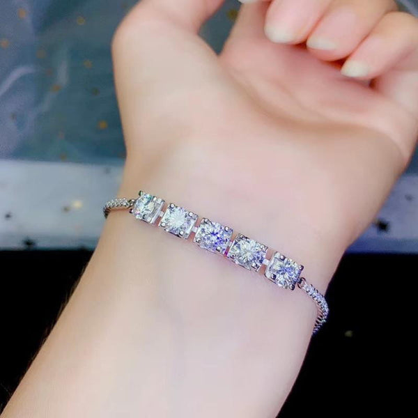 White Gold Plated Silver Moissanite Bracelet 2.5ct