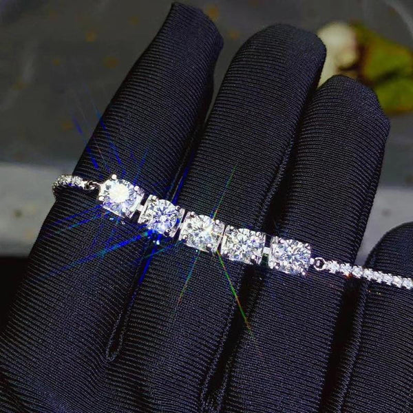 White Gold Plated Silver Moissanite Bracelet 2.5ctw - Moissanite Engagement Rings & Jewelry | Luxus Moissanite