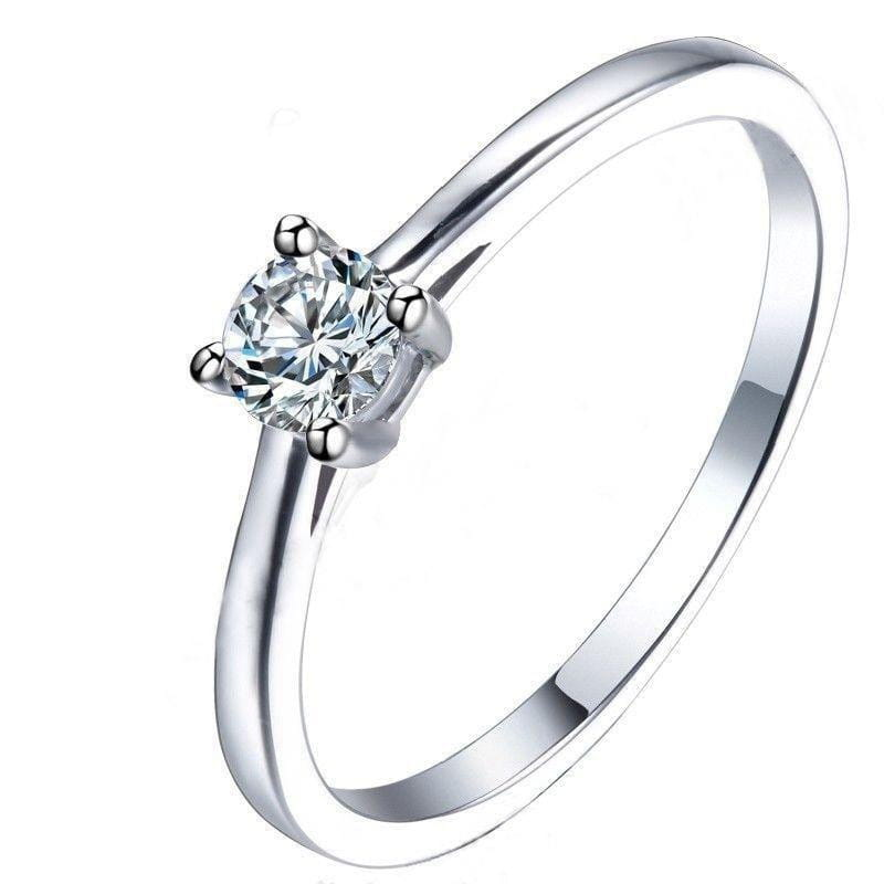 14k White Gold Solitaire Moissanite Ring 0.2ct - Moissanite Engagement Rings & Jewelry | Luxus Moissanite