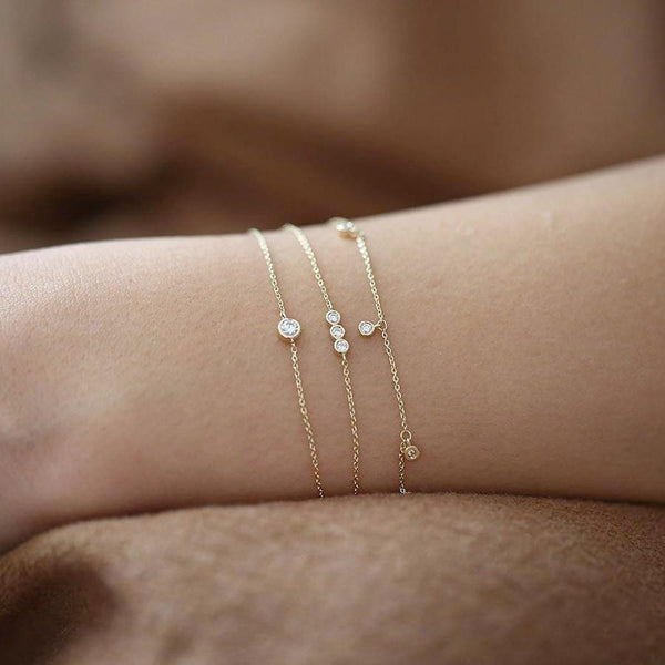 14k Yellow Gold Different Moissanite Bracelet Options