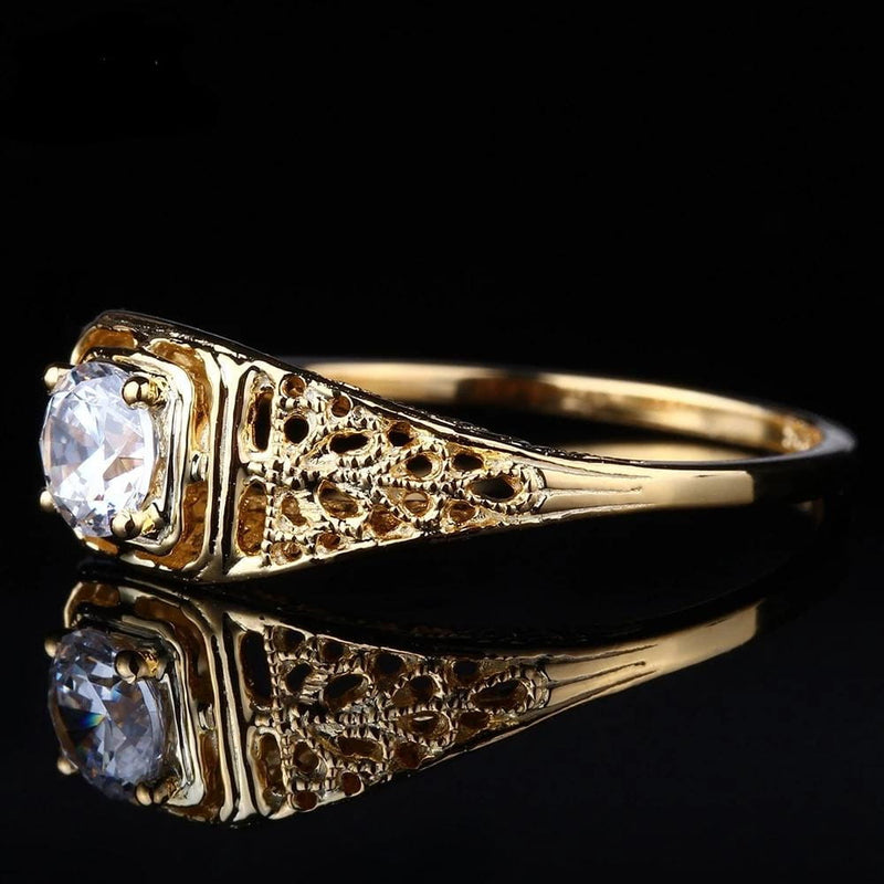 10k Yellow Gold Vintage Moissanite Ring .4 Carat Center Stone - Luxus Moissanite Rings & Jewelry