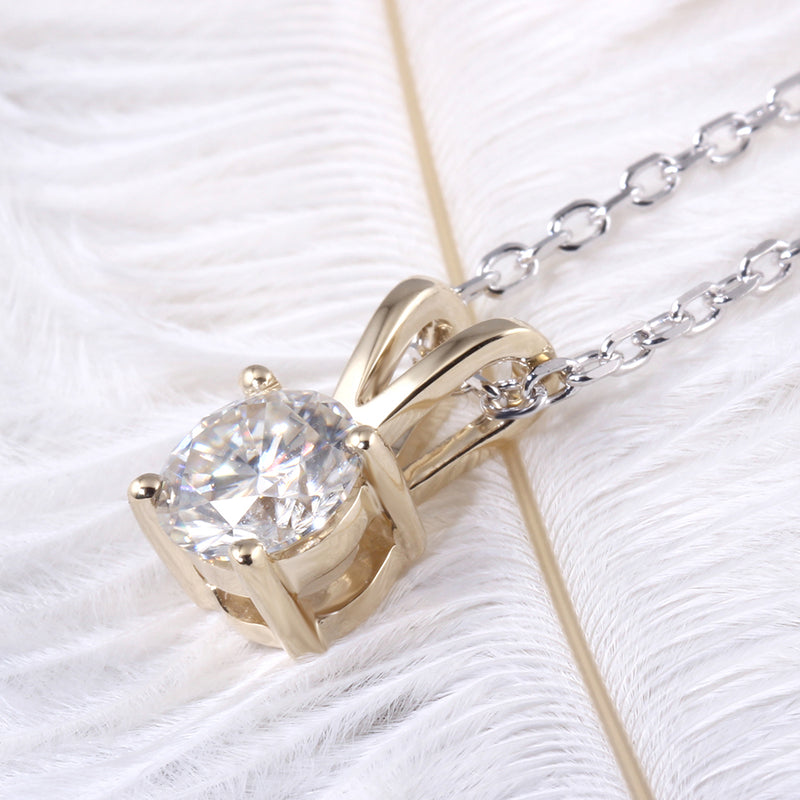 10k Yellow Gold Moissanite Necklace / Pendant 1ct