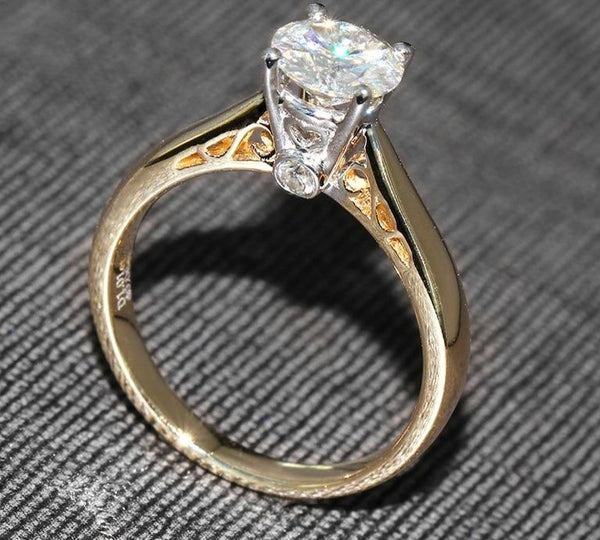 14k Yellow & White Gold Vintage Moissanite Ring 1ct