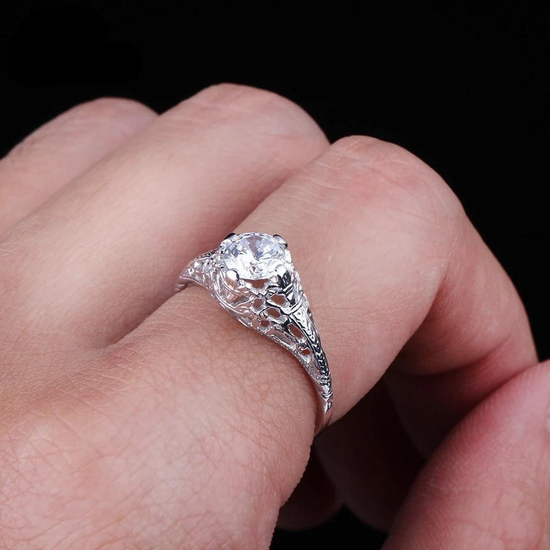 Vintage Moissanite Ring Silver Band .65 Carat Stone - Luxus Moissanite Engagement Rings