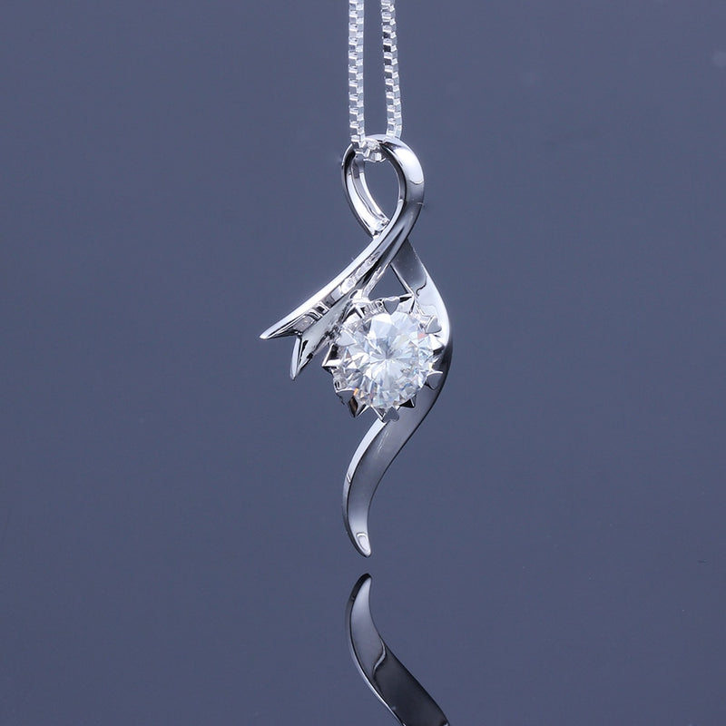 14k or 18k White Gold Moissanite Necklace / Pendant 1ct