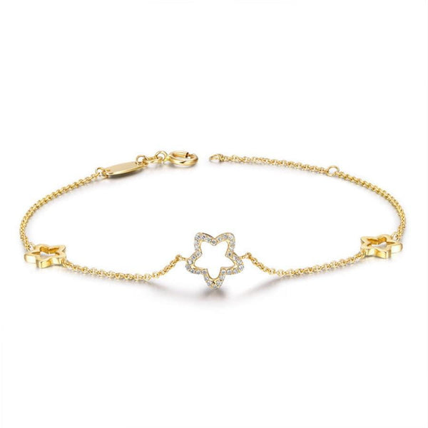 14k White or Yellow Gold Moissanite Star Bracelet