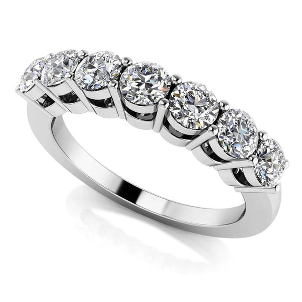 Moissanite 7 Stone Anniversary Ring .77 Carat Total - Luxus Moissanite Engagement Rings