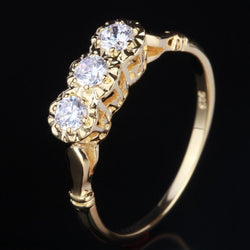 14k Yellow Gold Vintage / Unique Moissanite Ring 0.3ct Total - Moissanite Engagement Rings & Jewelry | Luxus Moissanite