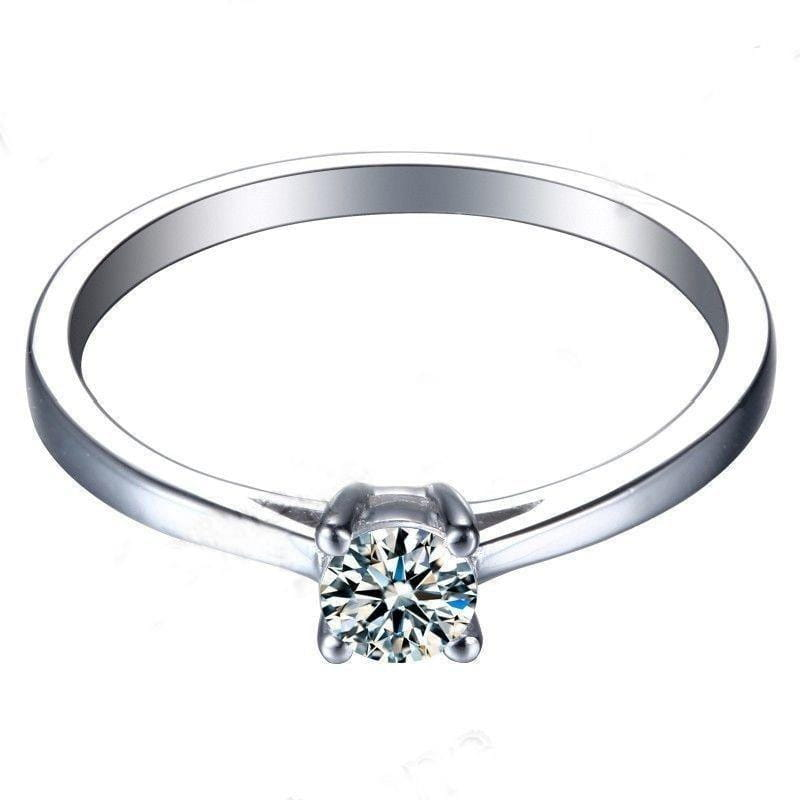 White Gold Plated Silver Solitaire Moissanite Ring 0.2ct