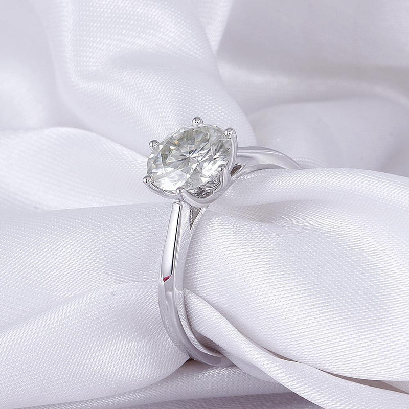 10k / 14k White Gold Solitaire Moissanite Ring 2ct or 3ct - Moissanite Engagement Rings & Jewelry | Luxus Moissanite