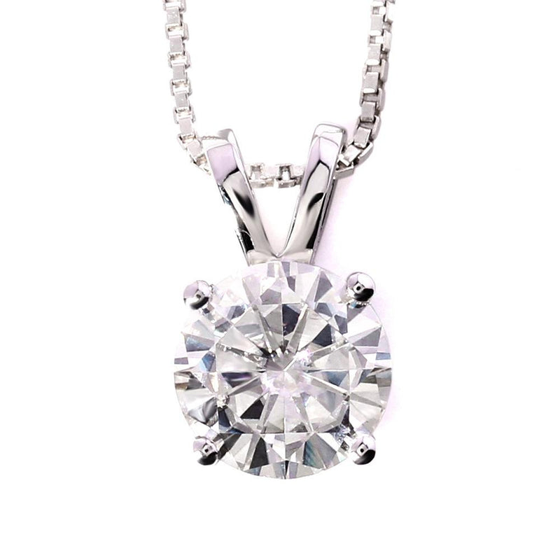 14k White Gold Moissanite Necklace / Pendant 1 Carat