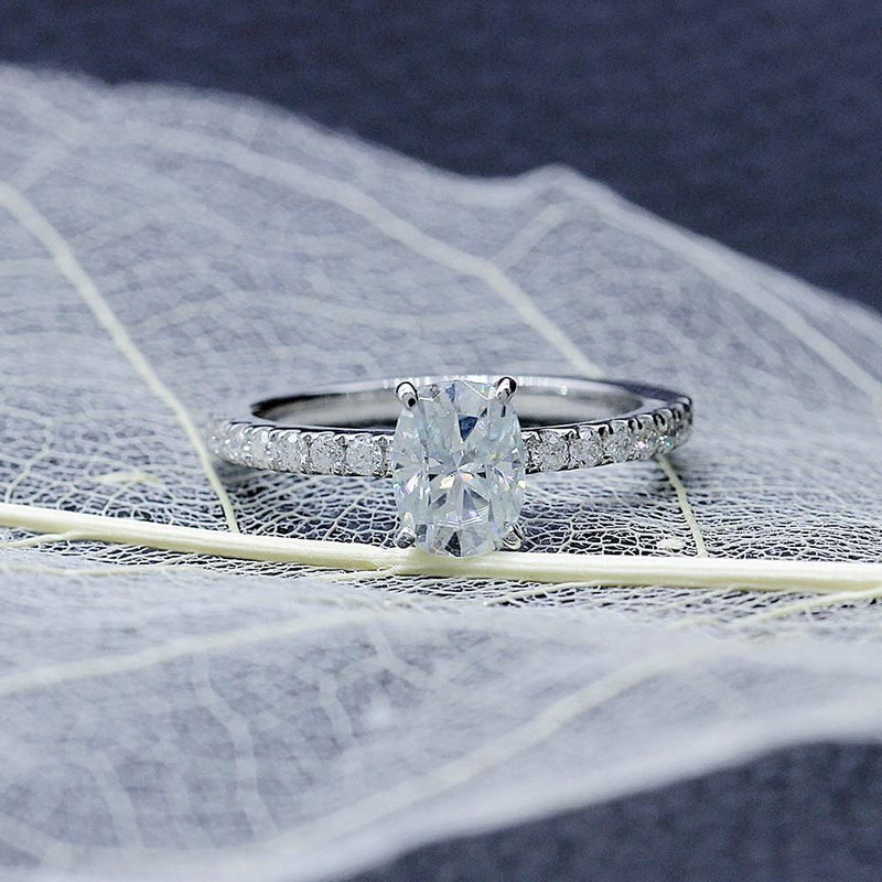 10k White Gold Oval Cut Slight Blue Moissanite Ring 1ct Center Stone - Moissanite Engagement Rings & Jewelry | Luxus Moissanite