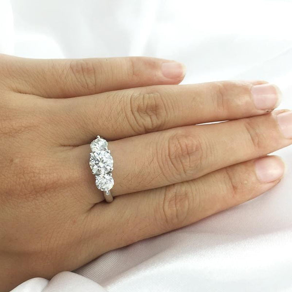 Platinum Plated Silver 3 Stone Moissanite Ring 2ct Total - Moissanite Engagement Rings & Jewelry | Luxus Moissanite