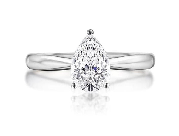 Pear Shaped Moissanite Engagement Ring .5 Carat - Luxus Moissanite Rings & Jewelry
