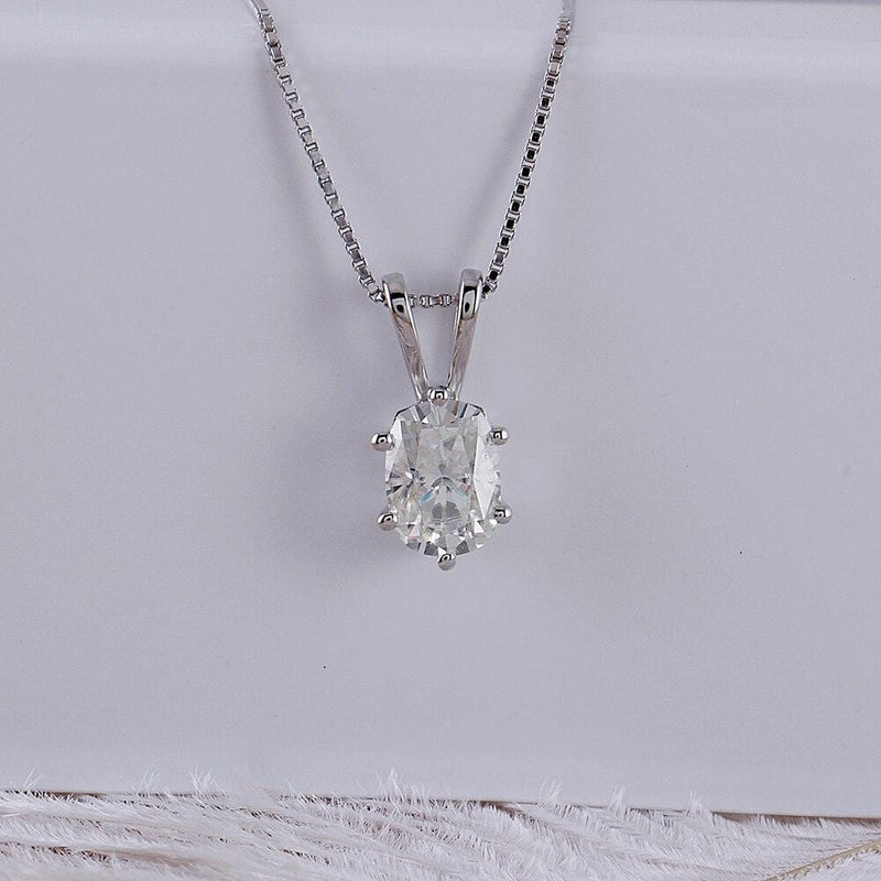 14k White Gold Moissanite Necklace Oval Cut 1ct - Moissanite Engagement Rings & Jewelry | Luxus Moissanite