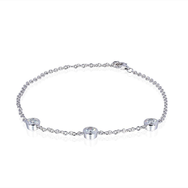 14k White Gold Moissanite Bracelet - Luxus Moissanite Rings & Jewelry
