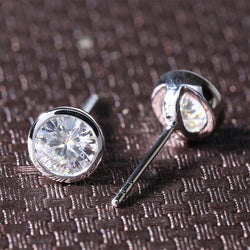 14k White Gold Bezel Moissanite Stud Earrings 1ctw