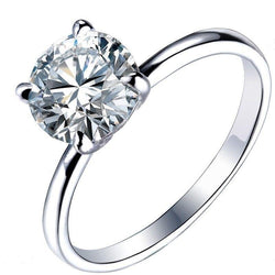 14k White Gold Solitaire Moissanite Ring 1.5ct