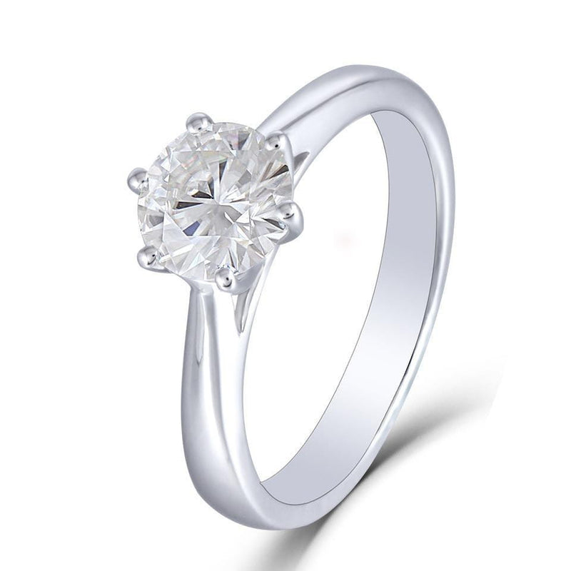 14k White Gold Solitaire Moissanite Ring 1ct - Moissanite Engagement Rings & Jewelry | Luxus Moissanite