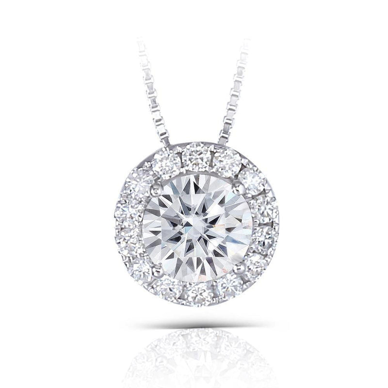 14k White Gold Halo Moissanite Necklace 1.3ct Total - Moissanite Engagement Rings & Jewelry | Luxus Moissanite