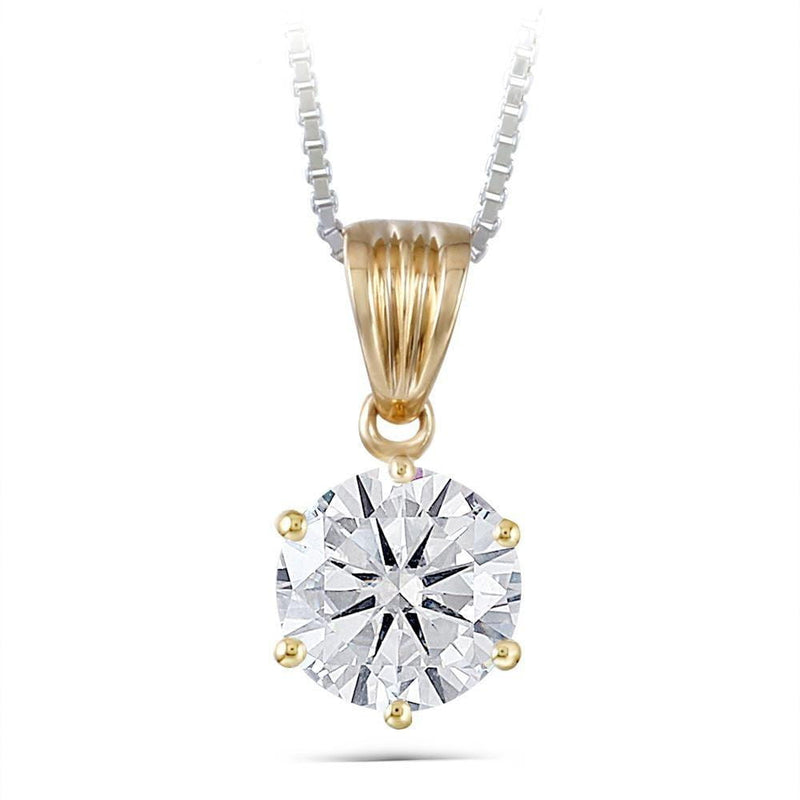 14k Yellow Gold Moissanite Necklace 1 Carat - Moissanite Engagement Rings & Jewelry | Luxus Moissanite
