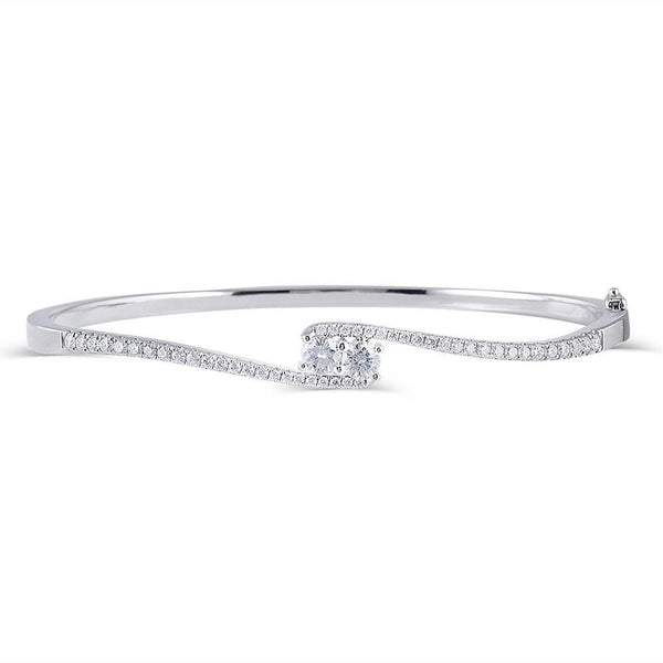 10k White Gold Bangle Moissanite Bracelet 0.5ctw