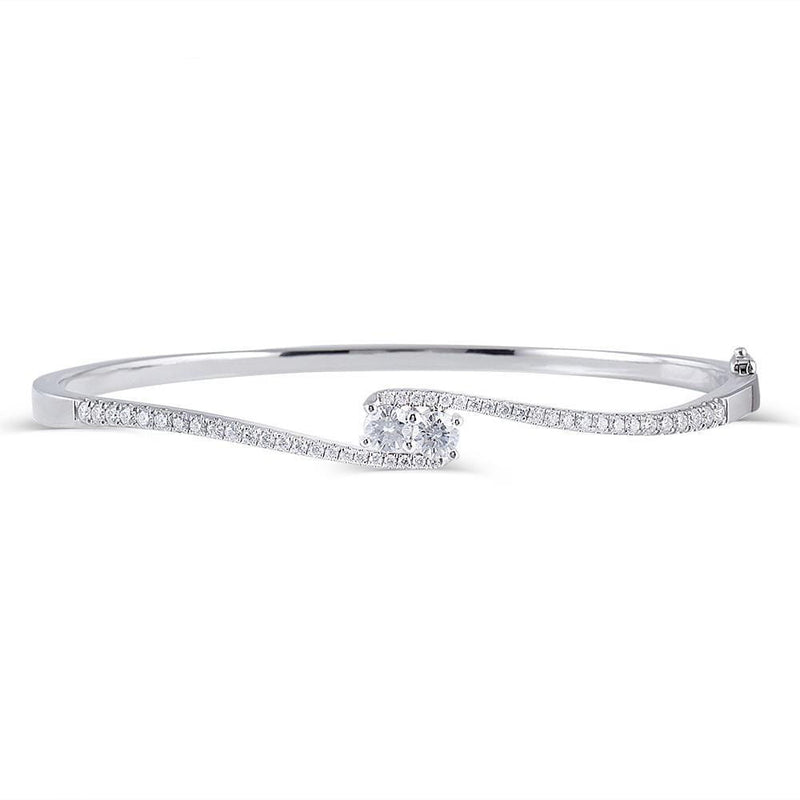 10k White Gold Bangle Moissanite Bracelet 0.5ctw - Moissanite Engagement Rings & Jewelry | Luxus Moissanite