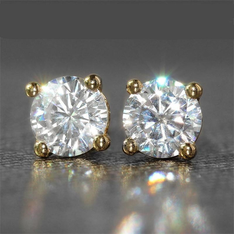18k Yellow Gold Stud Moissanite Earrings 1ct Total - Moissanite Engagement Rings & Jewelry | Luxus Moissanite