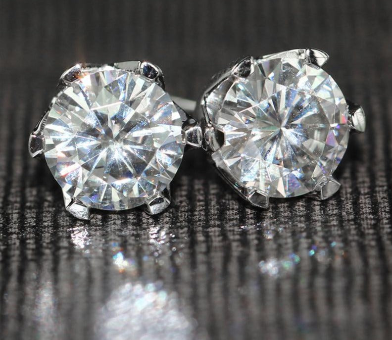 14k White Gold Moissanite Stud Earrings 2ctw